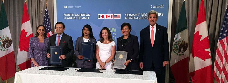 Les représentants officiels du Mexique, du Canada et des États-Unis d'Amérique signent le Protocole d'entente sur la promotion de l'entrepreneuriat des femmes et la croissance des entreprises appartenant à des femmes en Amérique du nord